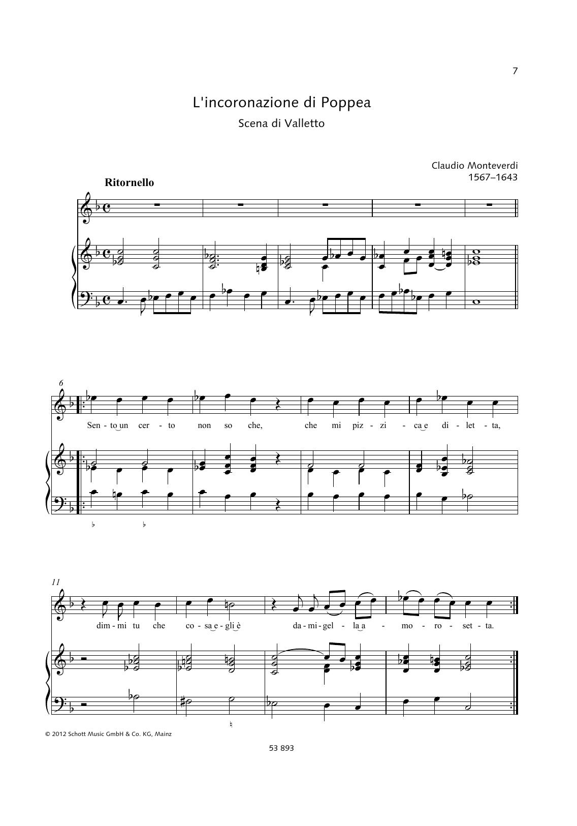Sento un certo non so che Sheet Music