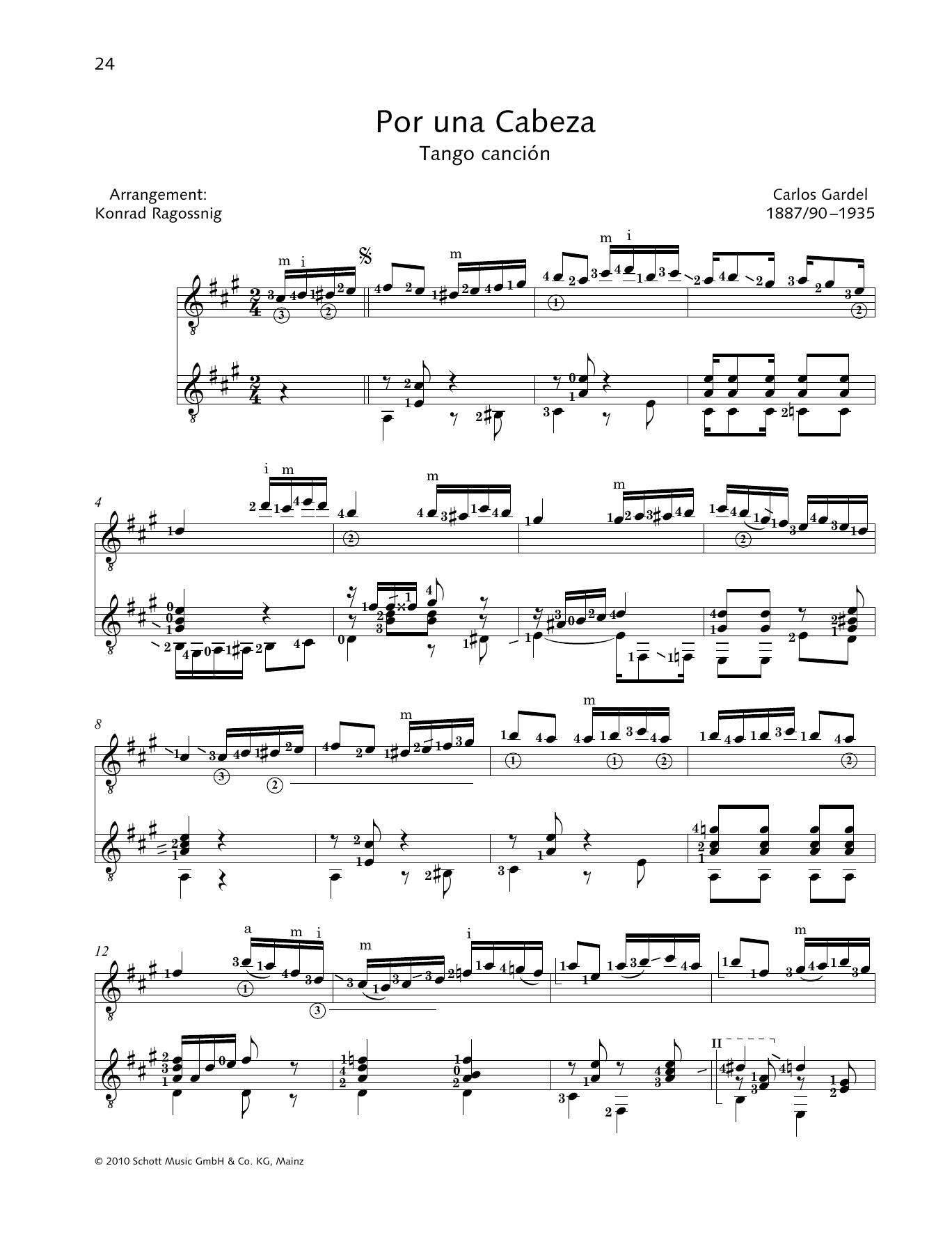 Por Una Cabeza - Full Score Sheet Music