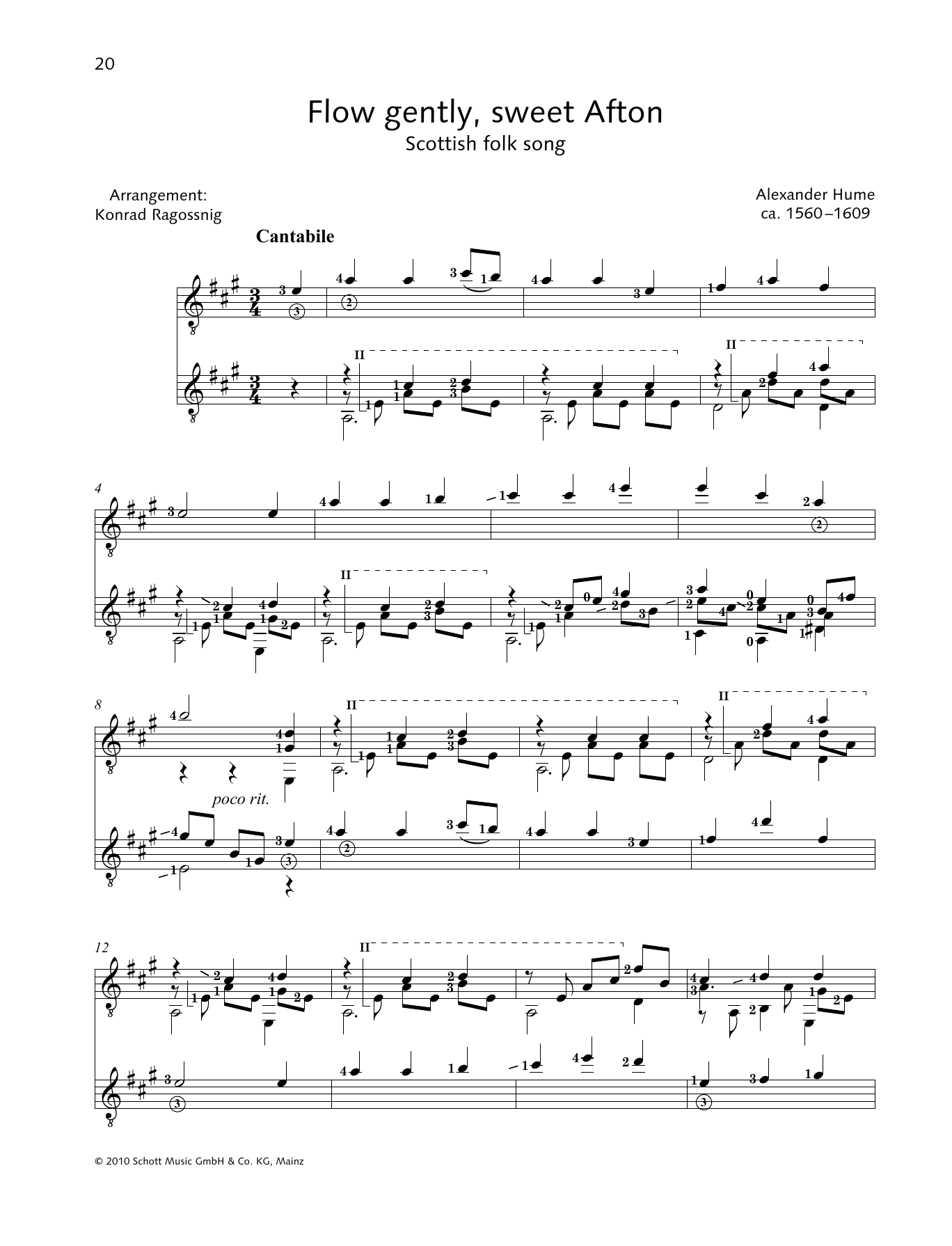 Flow Gently, Sweet Afton - Full Score Sheet Music