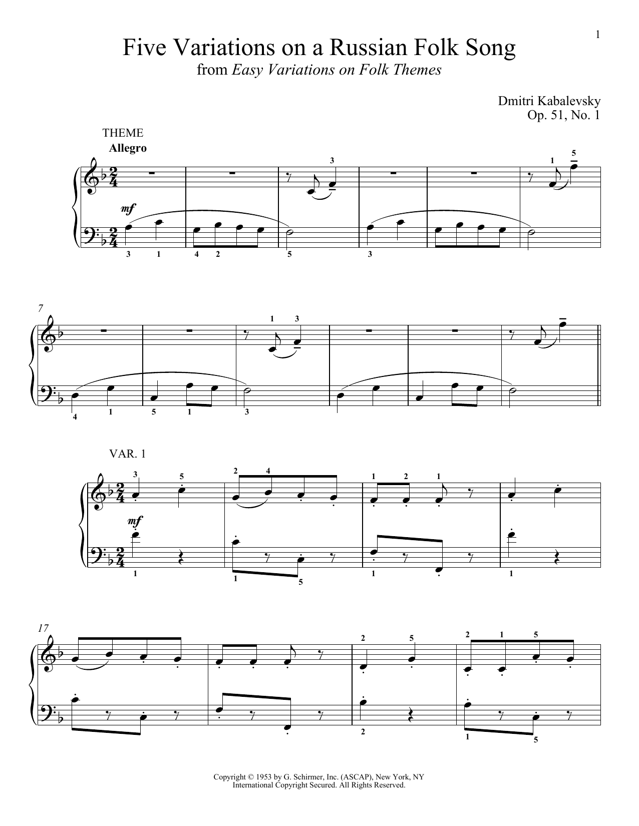 Five Variations On A Russian Folk Song, Op. 51, No. 1 (Piano Solo)