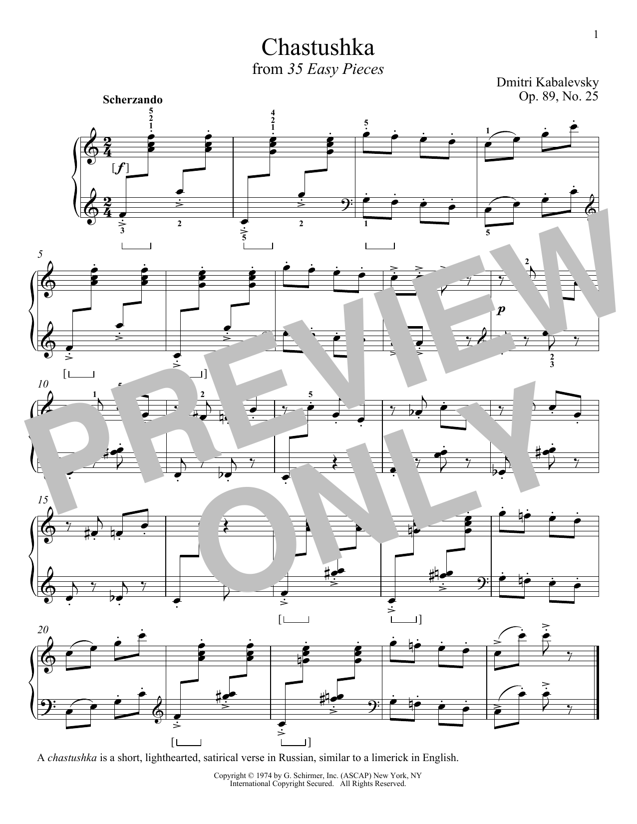 Chastushka, Op. 89, No. 25 Sheet Music