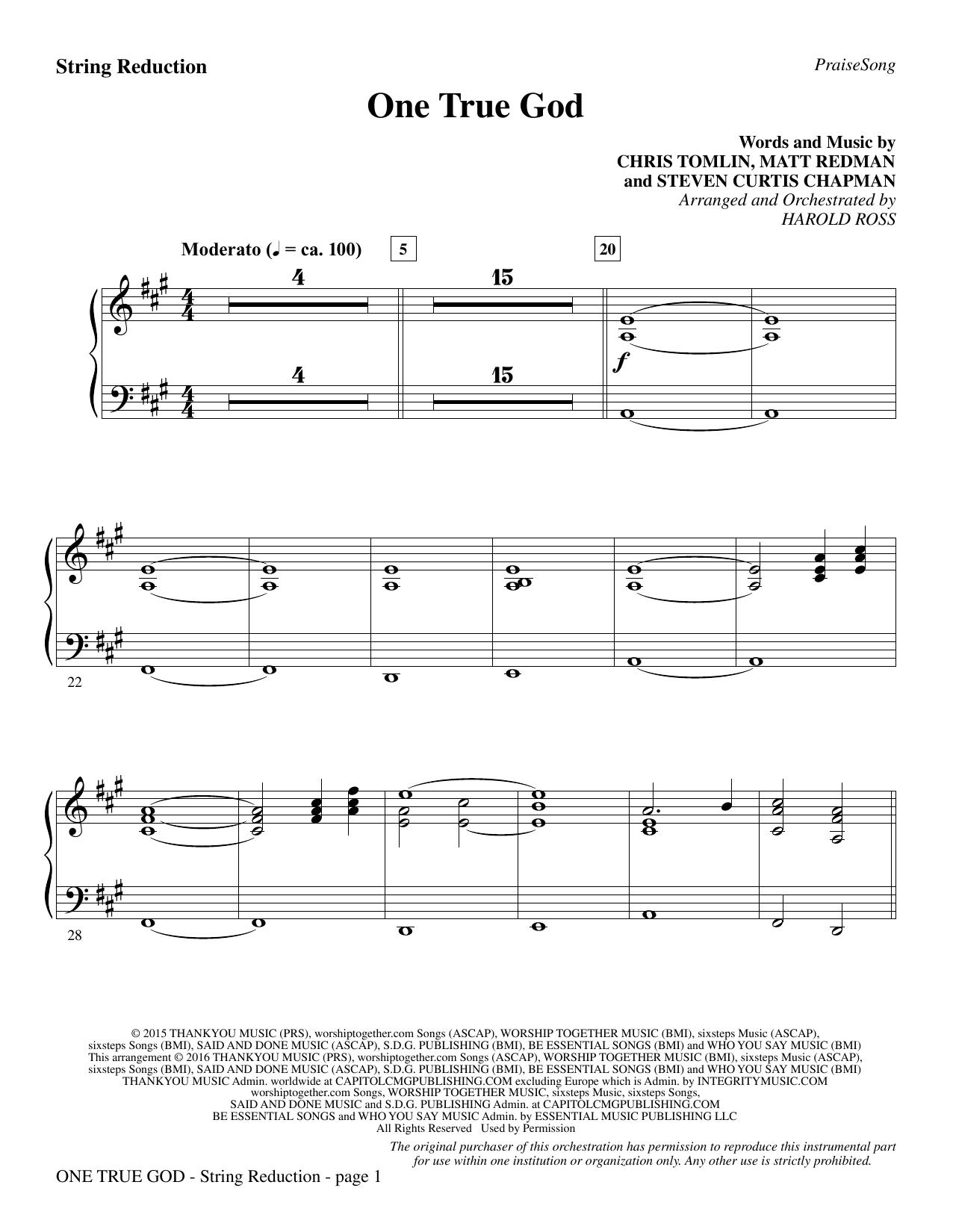 One True God - Keyboard String Reduction Sheet Music