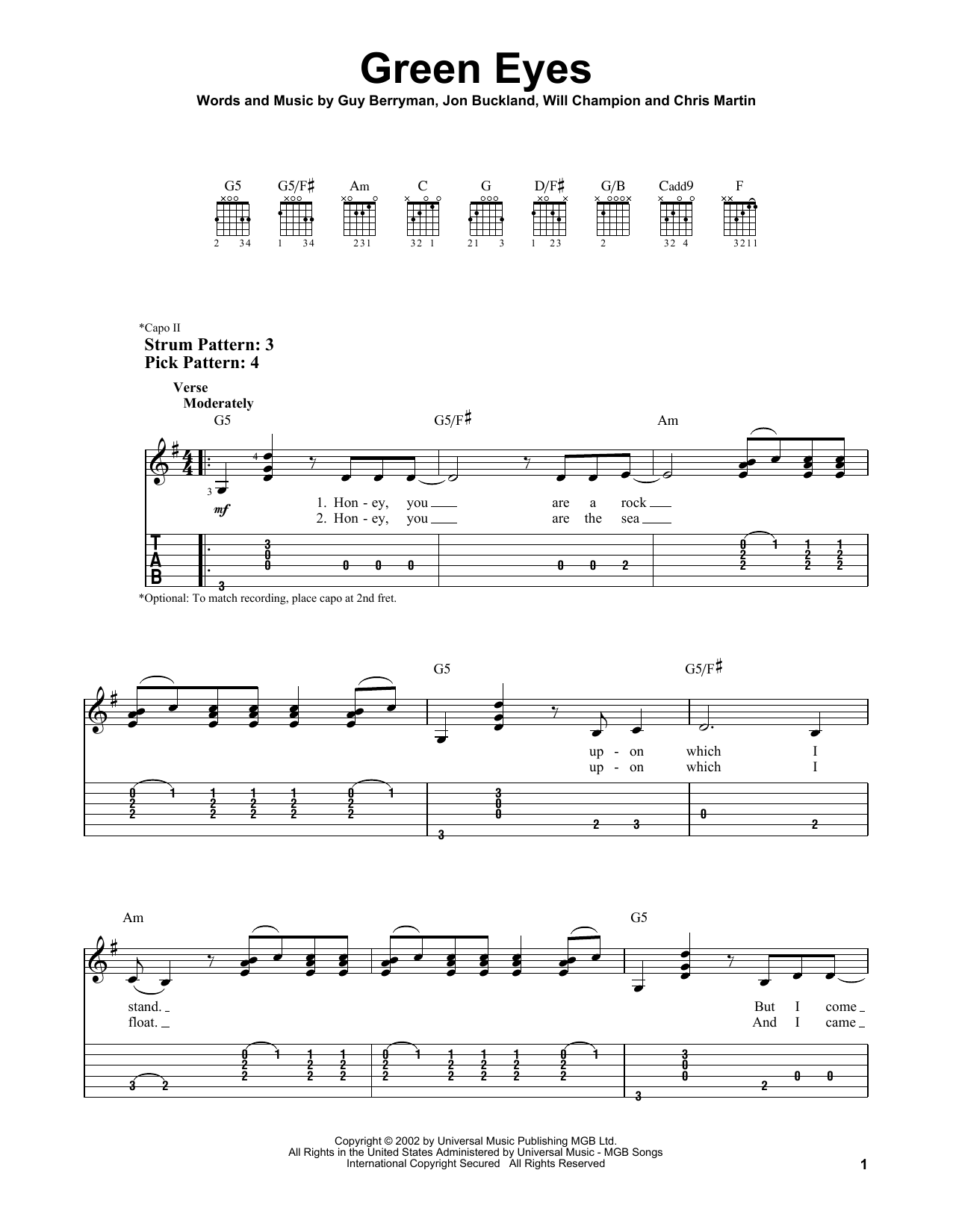 Green Eyes (Easy Guitar Tab)