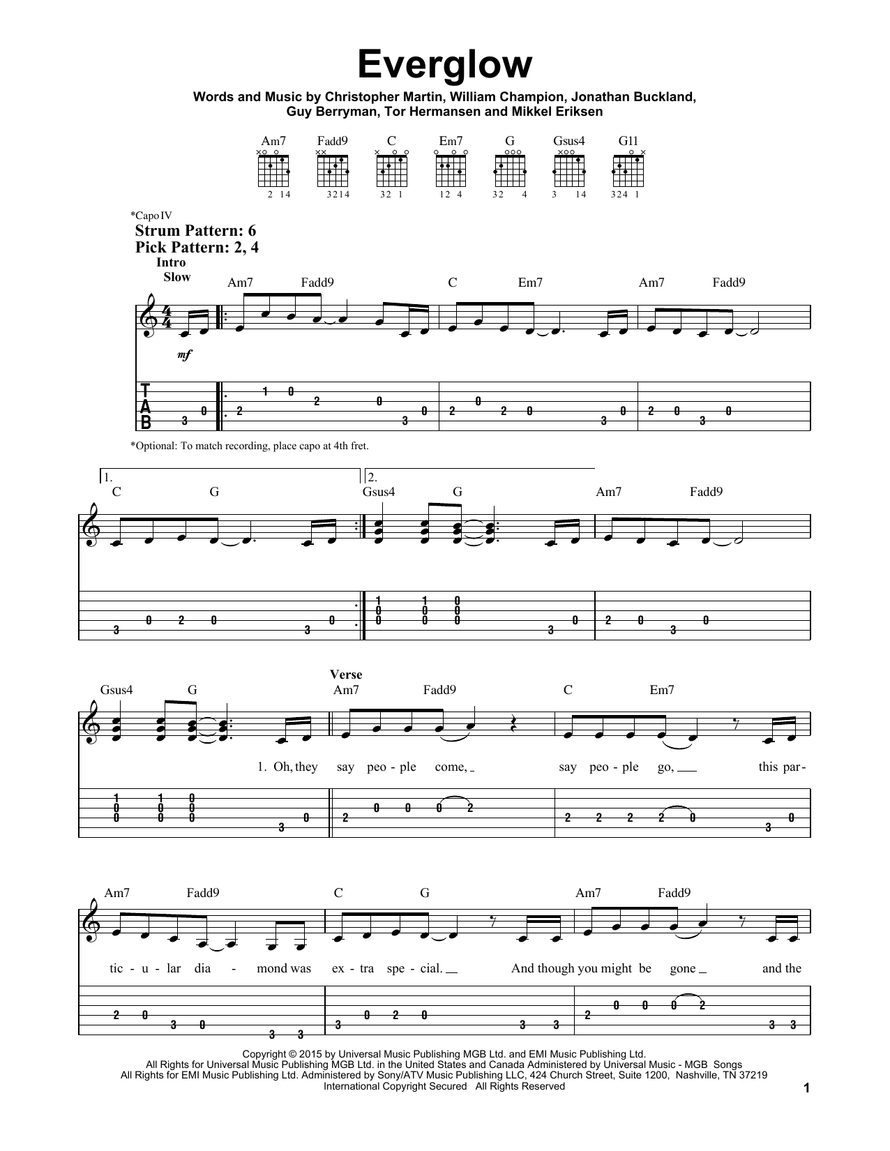 Everglow sheet music by Coldplay (Easy Guitar Tab – 179988) Christina Aguilera Chords