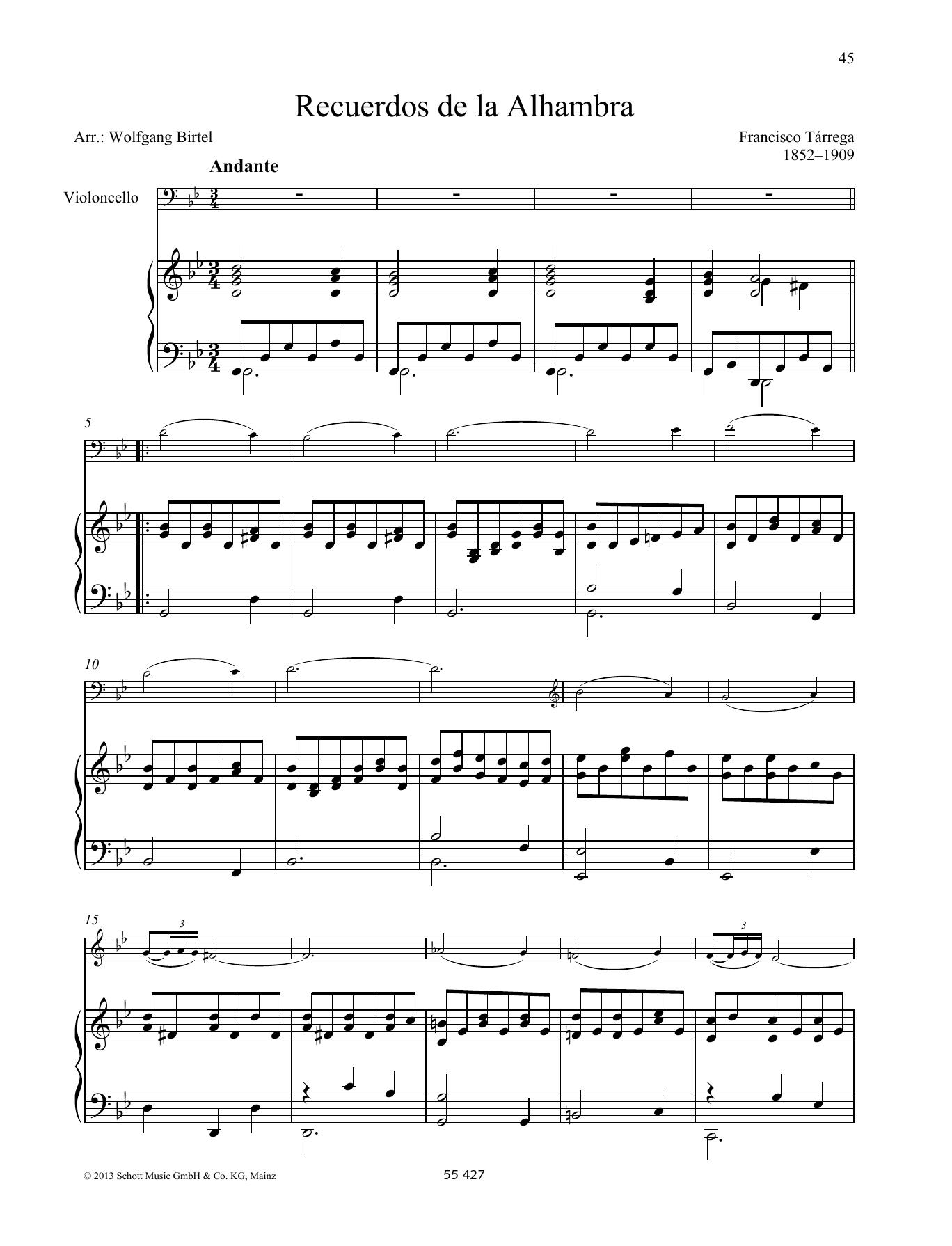 Recuerdos de la Alhambra Sheet Music