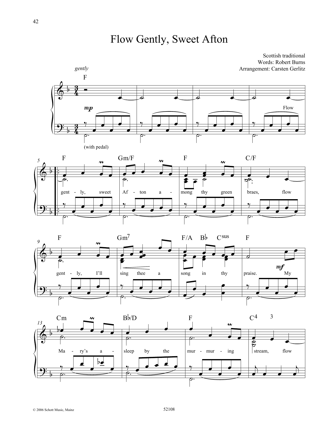 Flow Gently, Sweet Afton Sheet Music