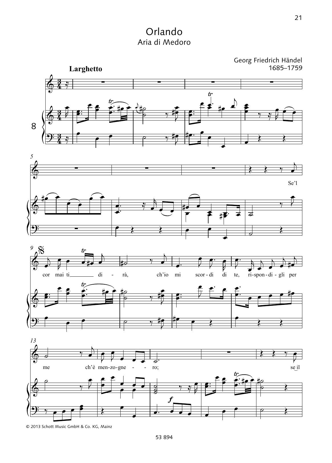 Se'l cor mai ti dira Sheet Music