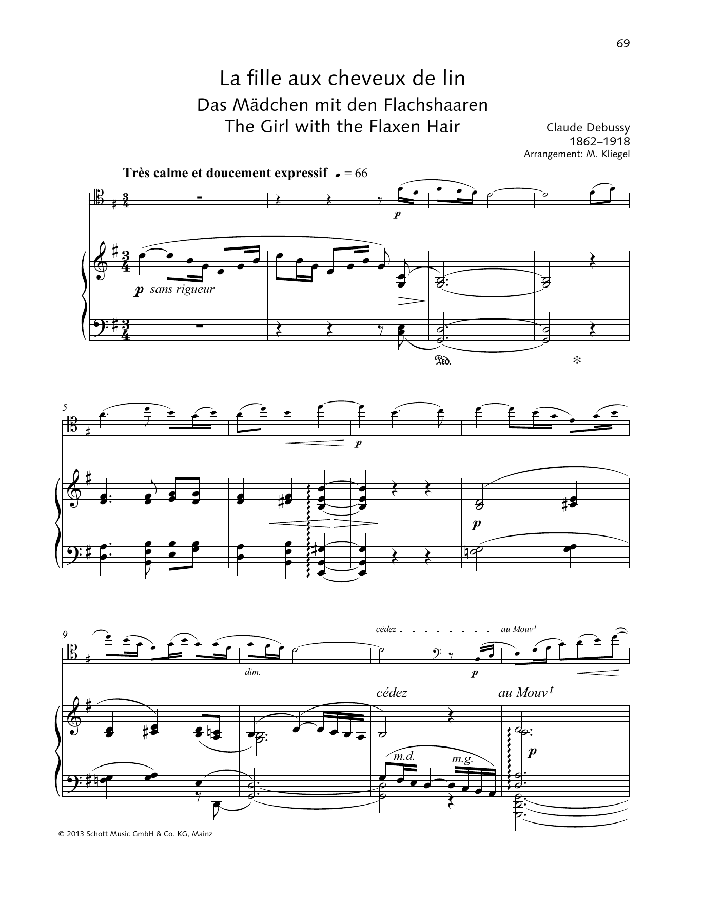 The Girl with the Flaxen Hair Sheet Music