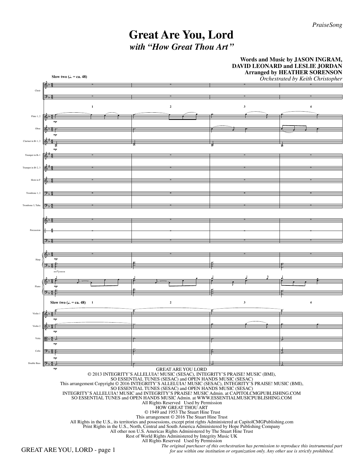 Great Are You Lord (with How Great Thou Art) - Full Score Sheet Music