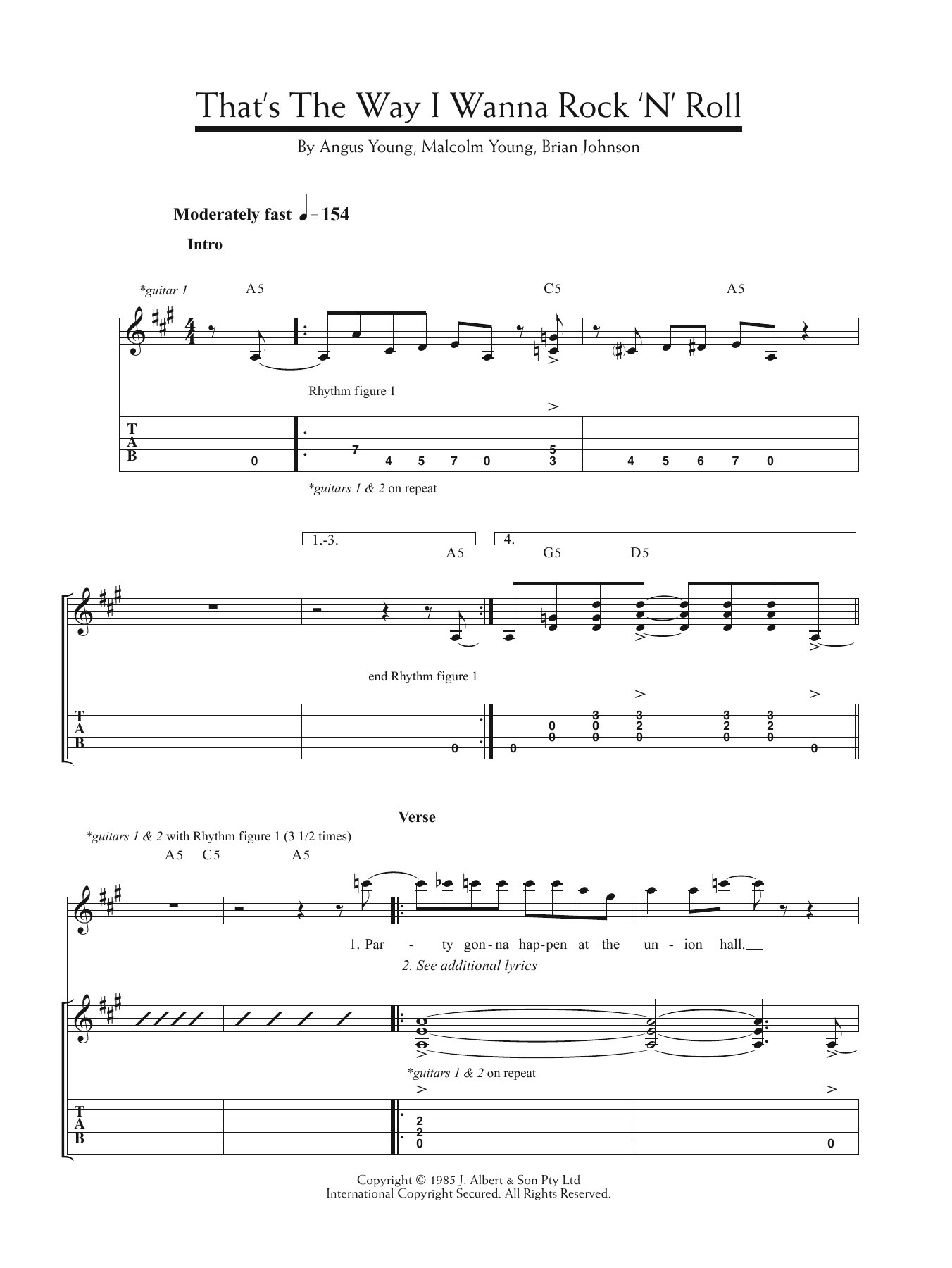 That's The Way I Wanna Rock 'n' Roll Sheet Music