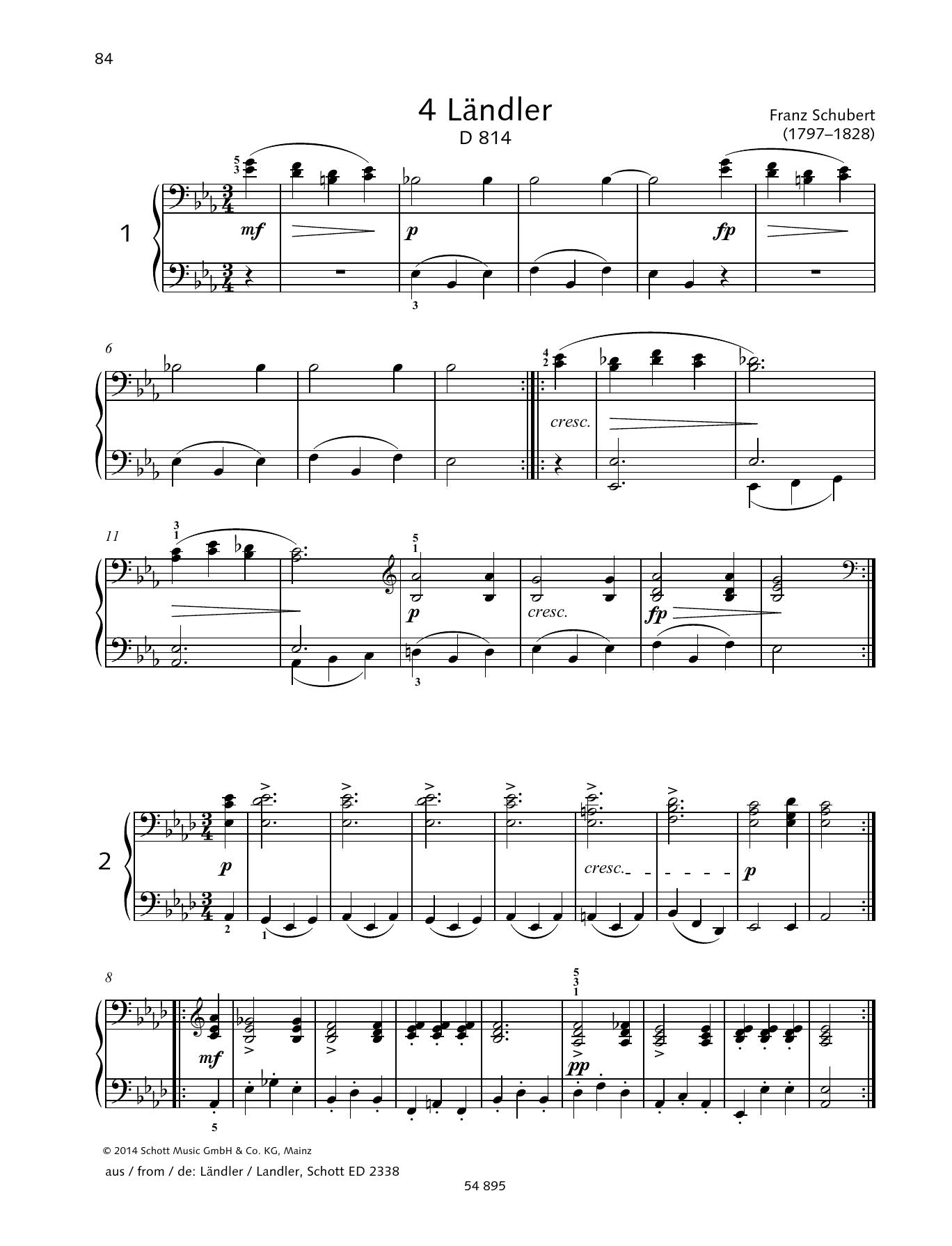4 Landler Sheet Music