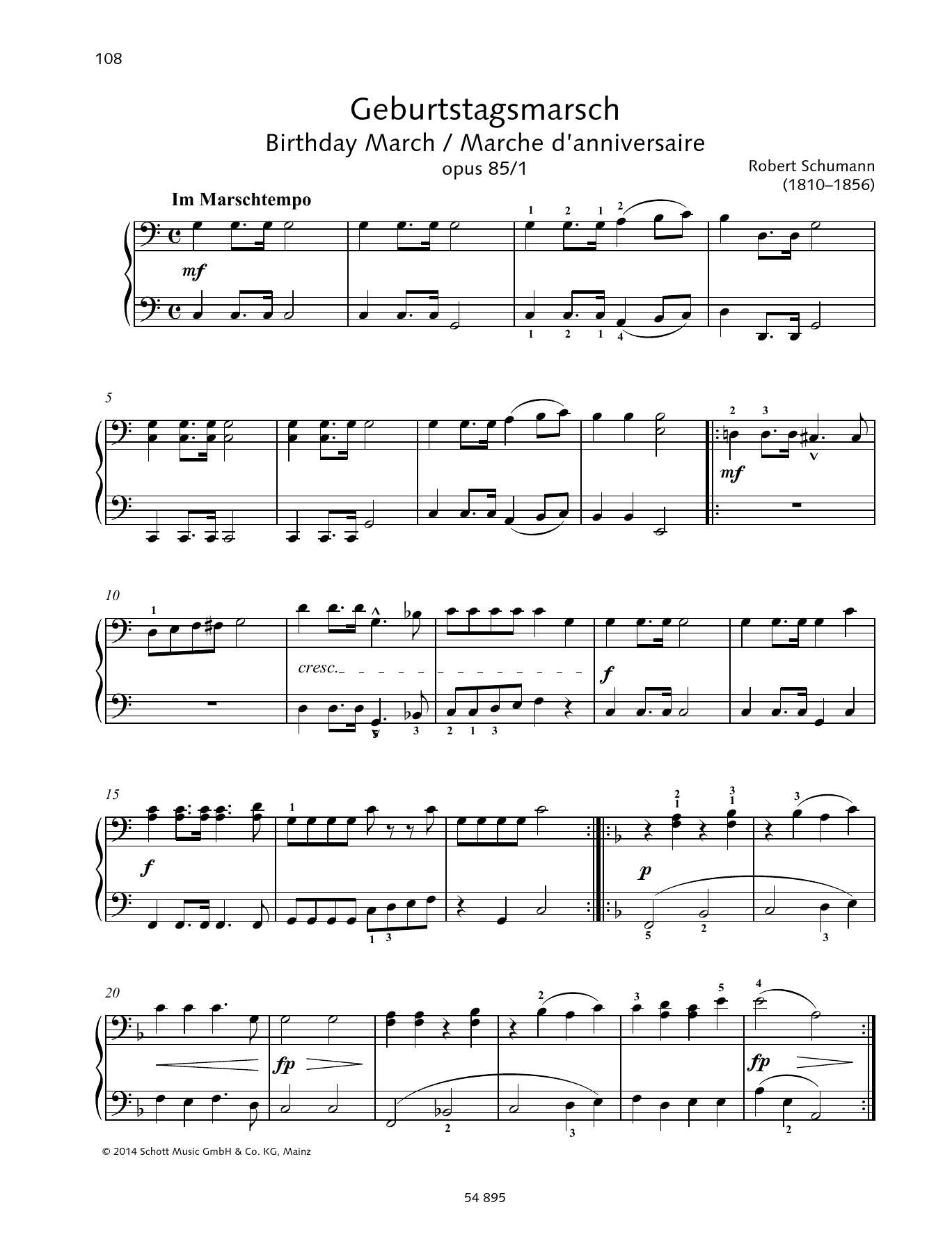 Birthday March op. 85 No. 1 Sheet Music