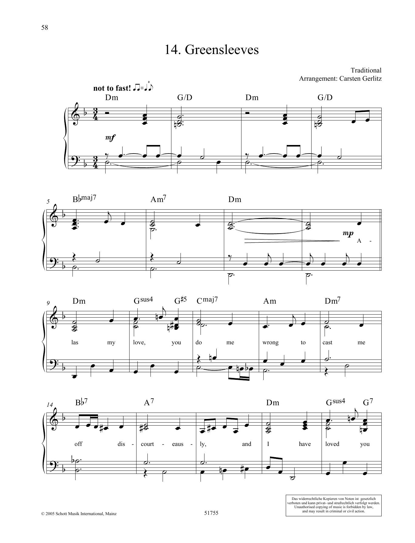 Greensleeves Sheet Music