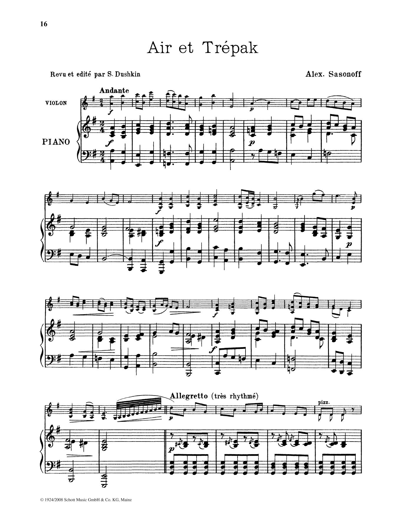 Air et Trepak Sheet Music