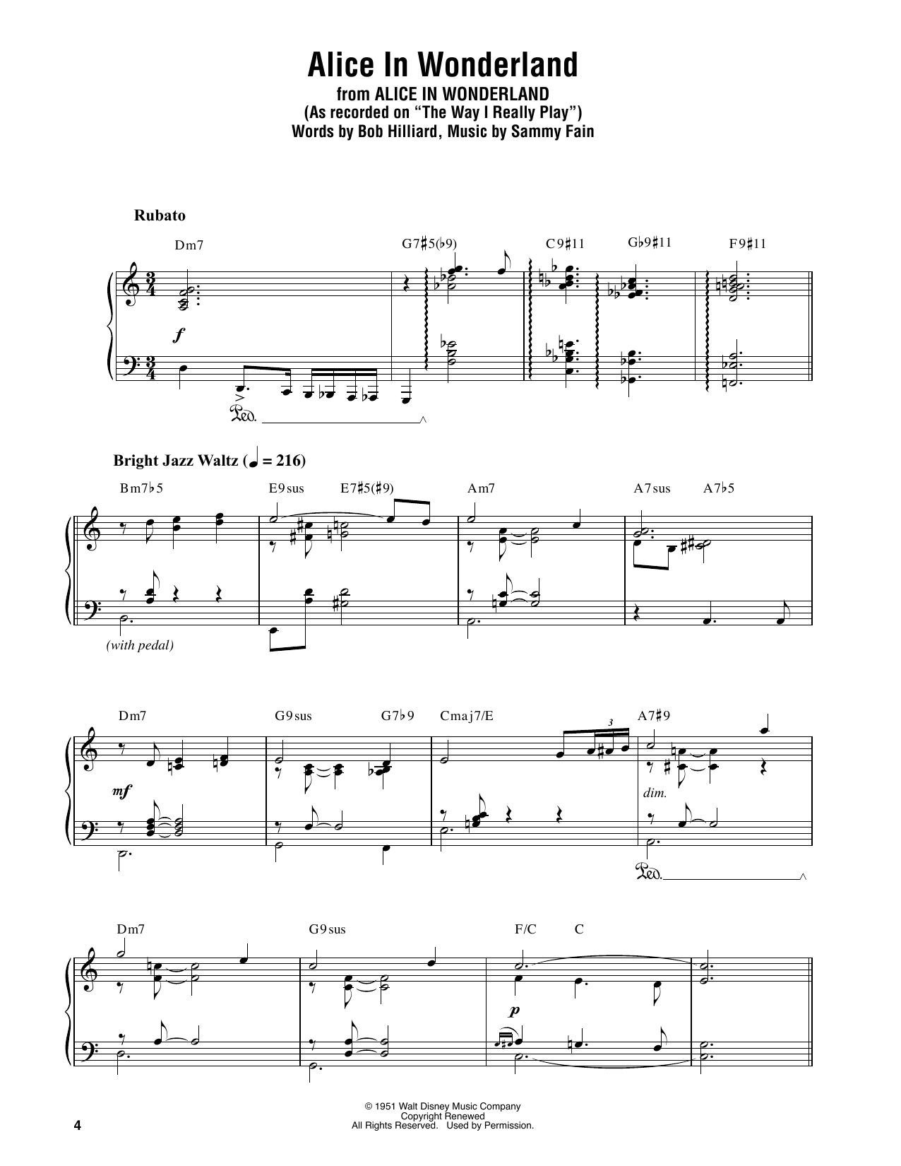 Main Title (Alice In Wonderland) (Piano Transcription)