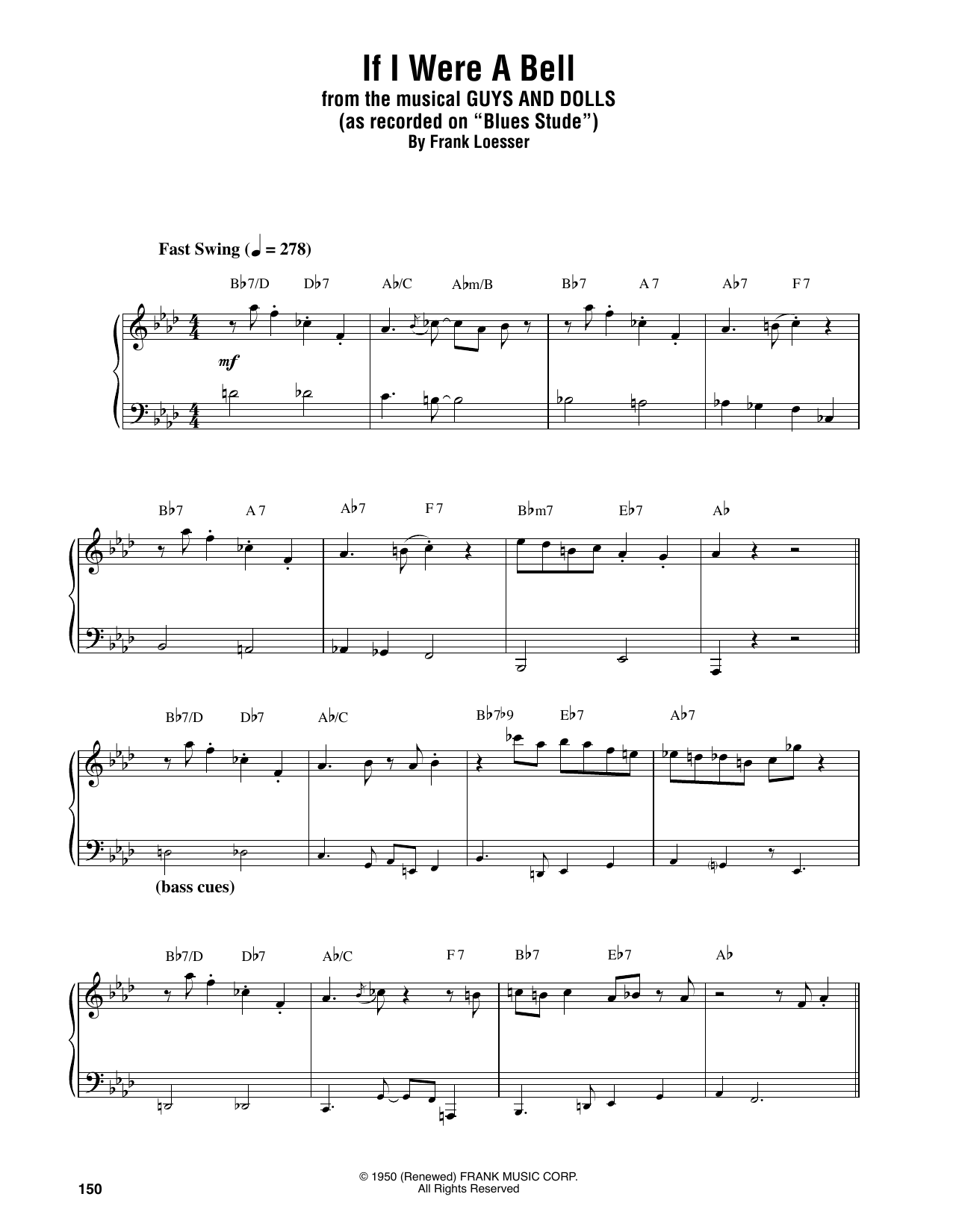 If I Were A Bell Sheet Music Oscar Peterson Piano Transcription