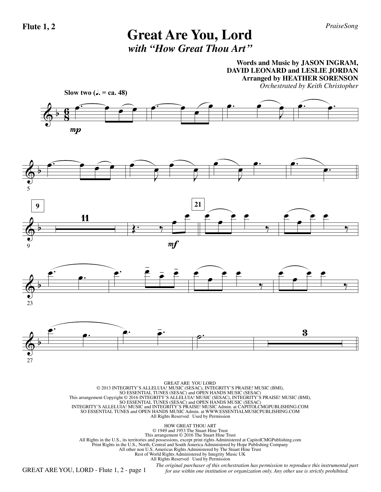 Great Are You Lord (with How Great Thou Art) - Flute 1 & 2 Sheet Music