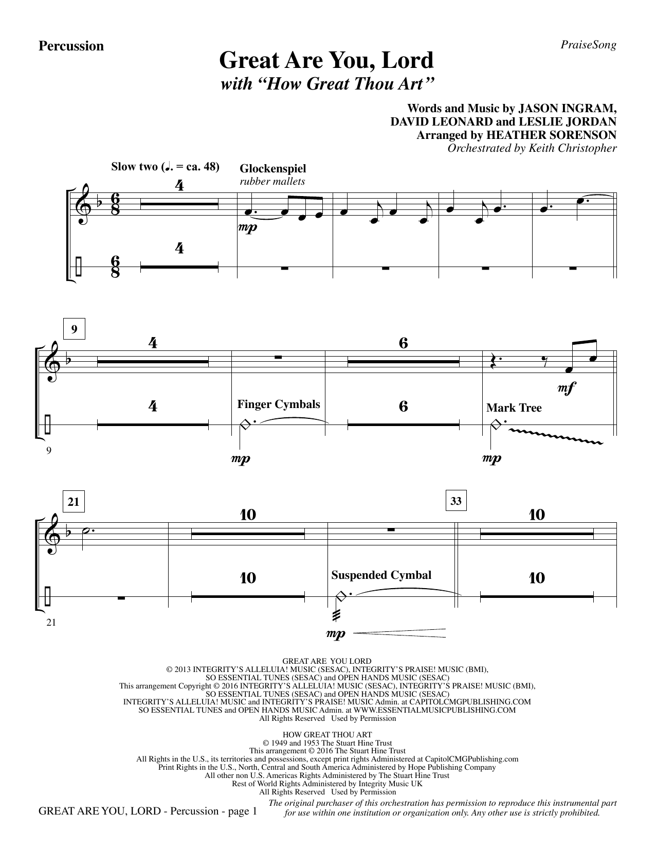 Great Are You Lord (with How Great Thou Art) - Percussion Sheet Music