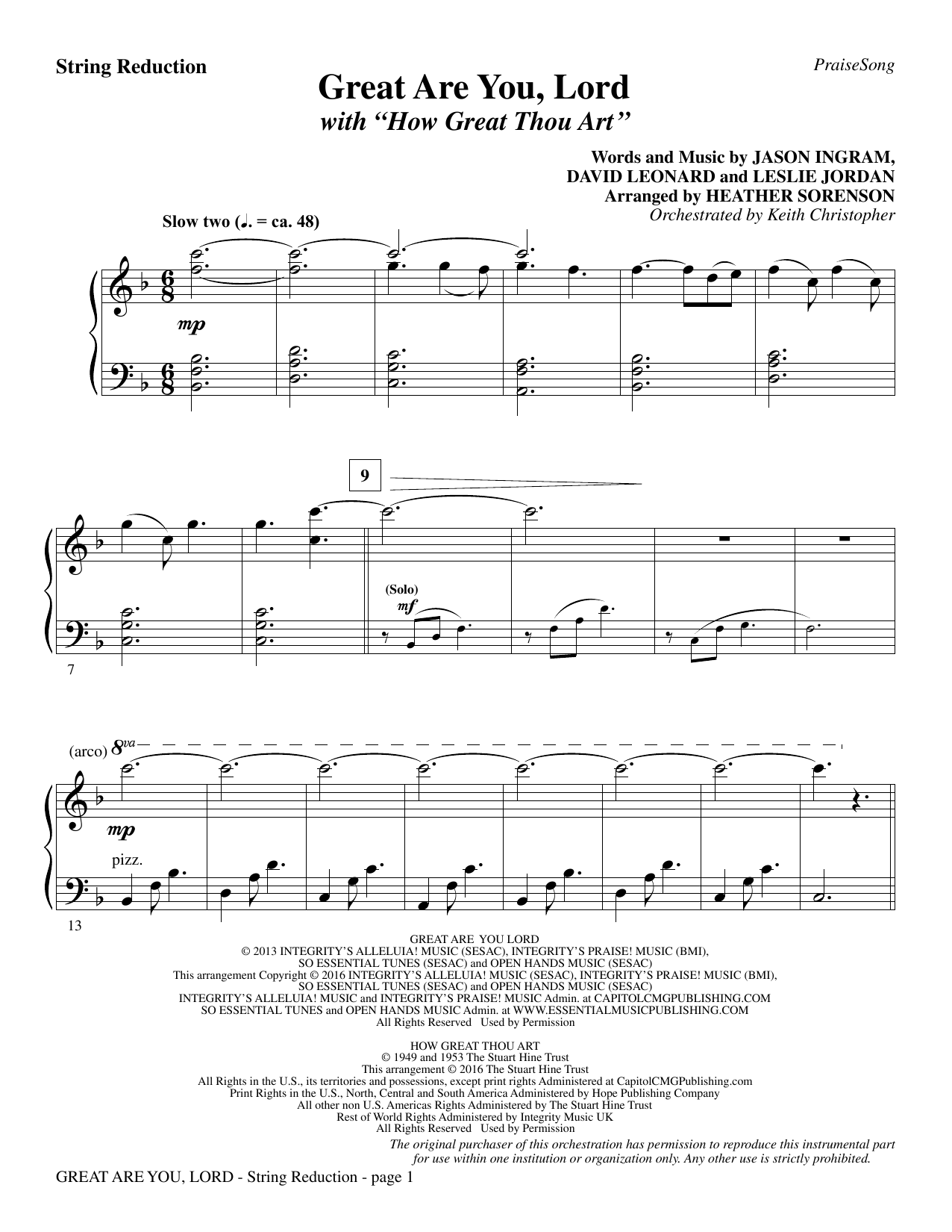 Great Are You Lord (with How Great Thou Art) - Keyboard String Reduction Sheet Music