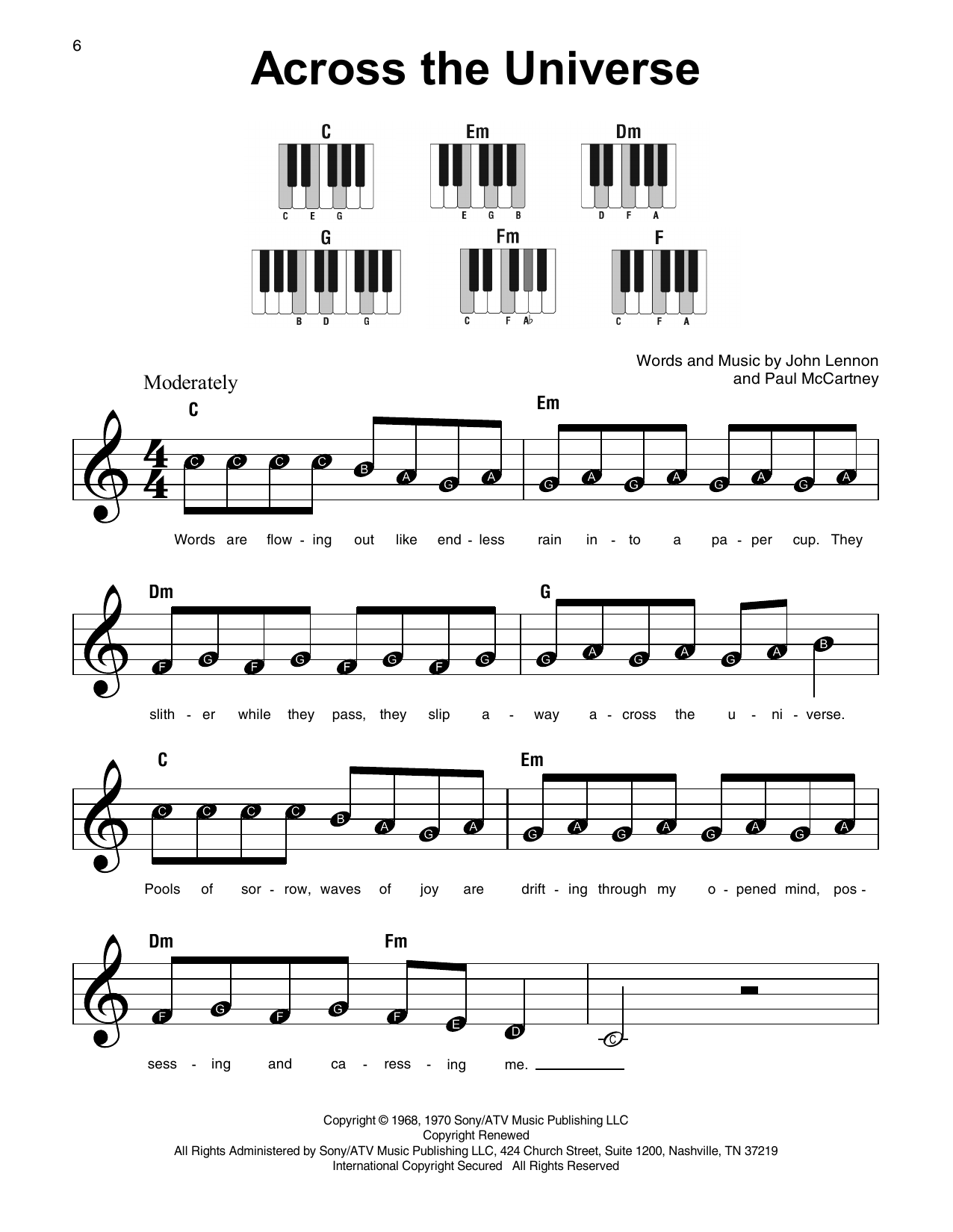 Across The Universe Sheet Music
