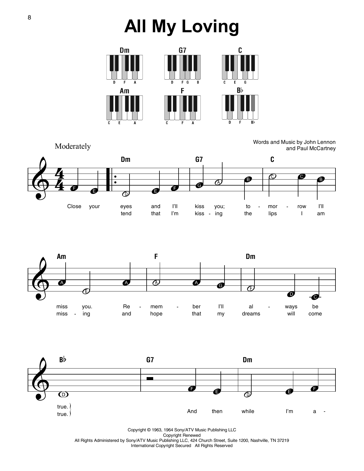 beatles easy piano sheet music pdf