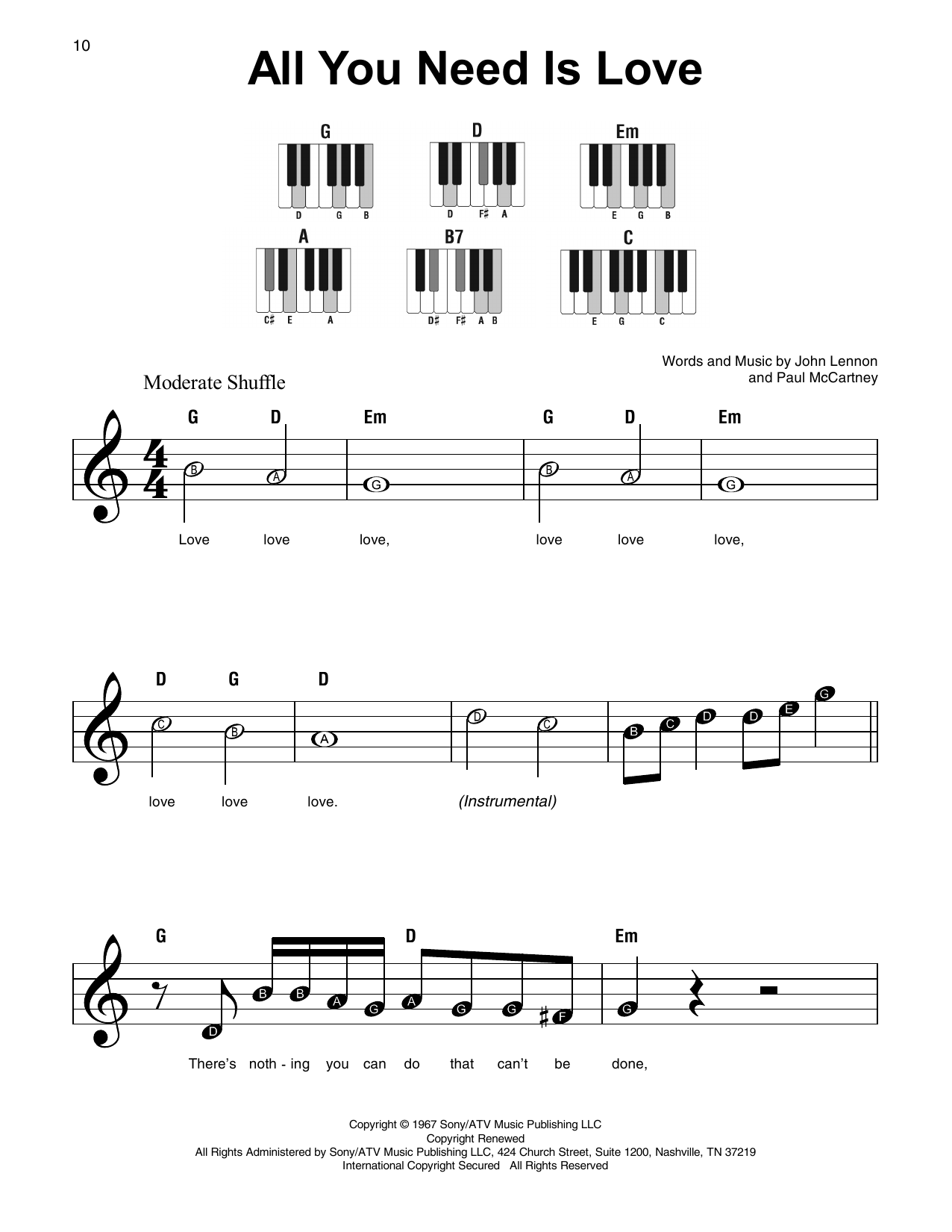 Partition piano all you need is love de the beatles for Creatore facile piano piano gratuito