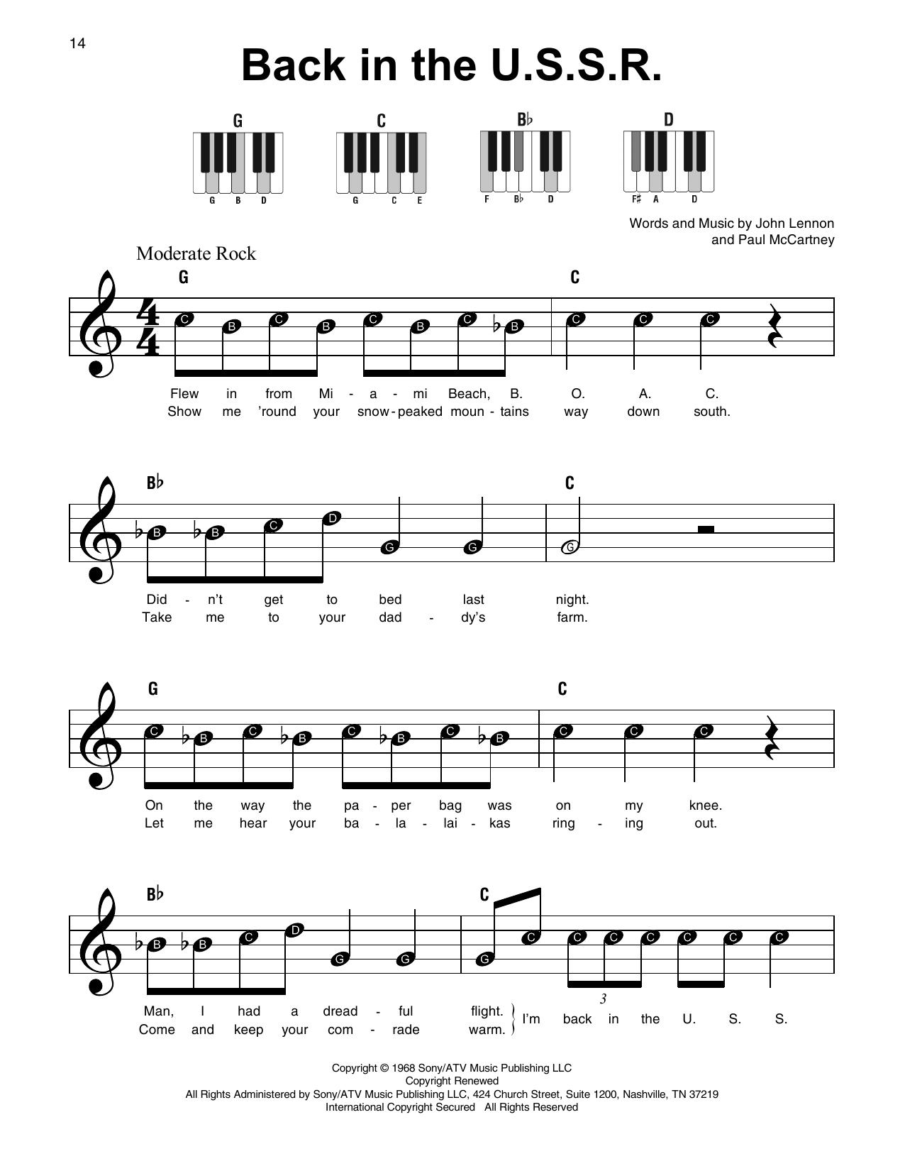 Back In The U.S.S.R. (Super Easy Piano)