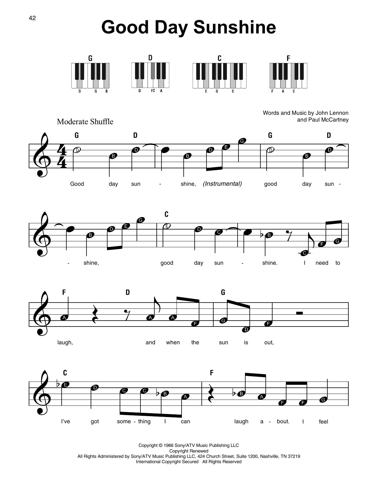 Good Day Sunshine (Super Easy Piano)