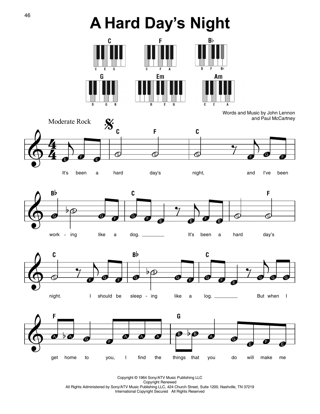 A Hard Day's Night by The Beatles Piano, Vocal & Guitar (Right-Hand Melody)  Digital Sheet Music