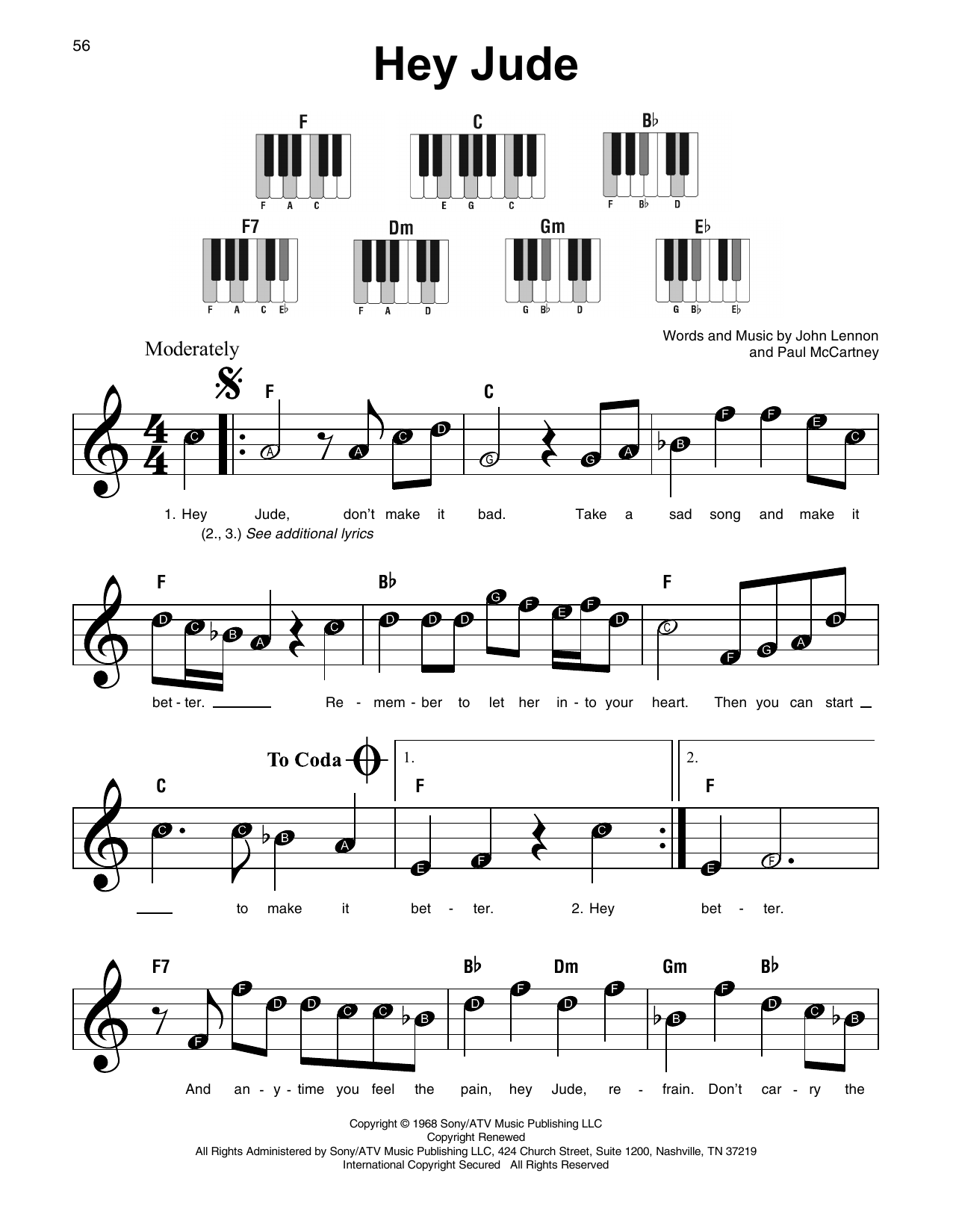 Hey jude partition par the beatles piano super facile for Piano piano facile