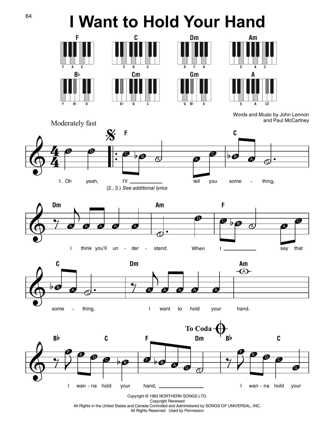 I Want To Hold Your Hand Sheet Music | The Beatles | Super Easy Piano