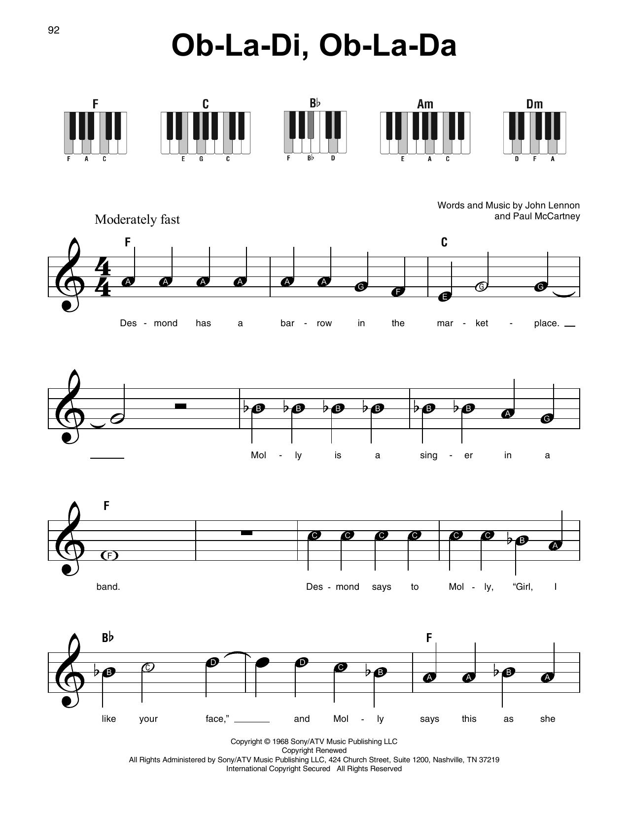 Ob-La-Di, Ob-La-Da (Super Easy Piano)