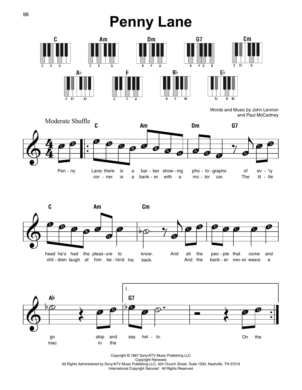 Penny Lane (Super Easy Piano)