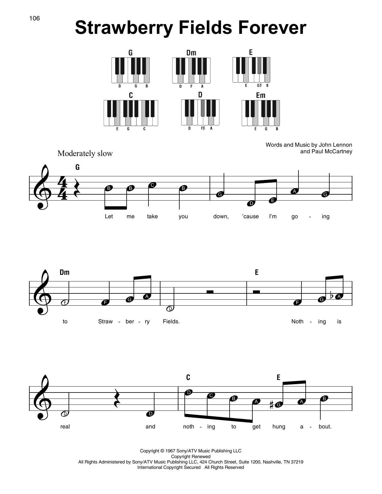 Strawberry Fields Forever (Super Easy Piano)