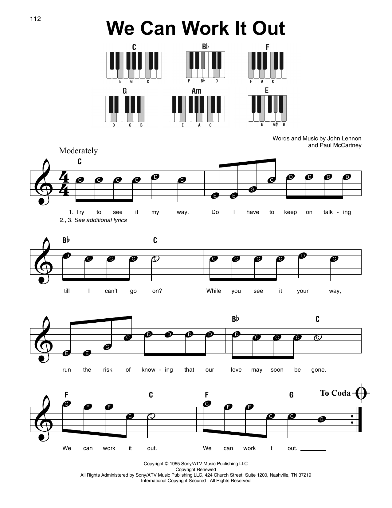 how to play work on piano easy