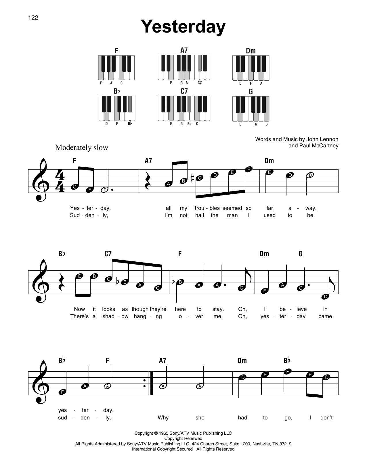 Yesterday partituras por the beatles piano s per f cil for Creatore facile piano piano gratuito