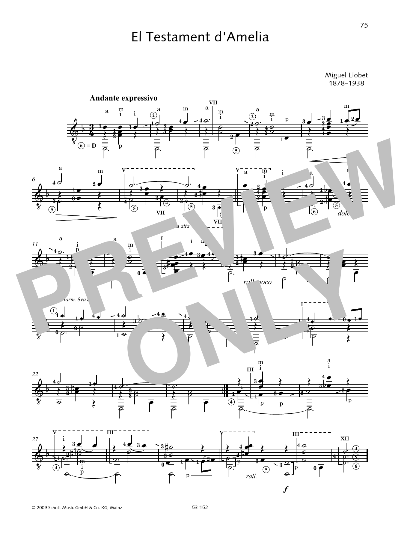 El Testament d'Amelia Sheet Music