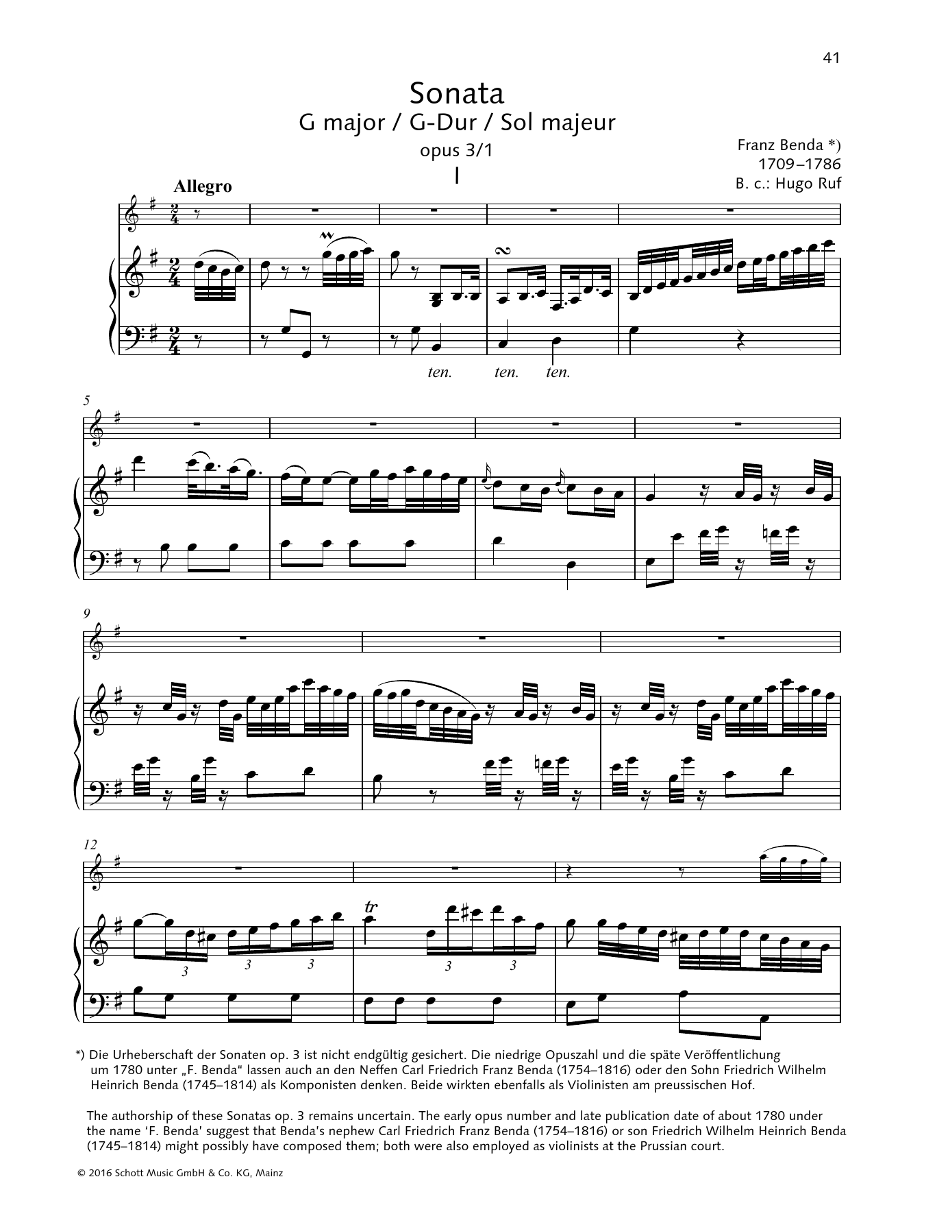 Sonata G Major Sheet Music