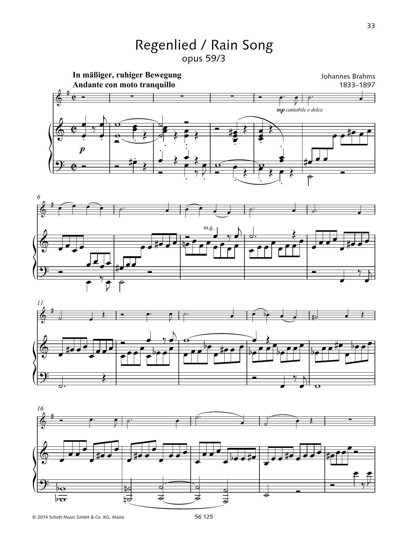 Regenlied Sheet Music