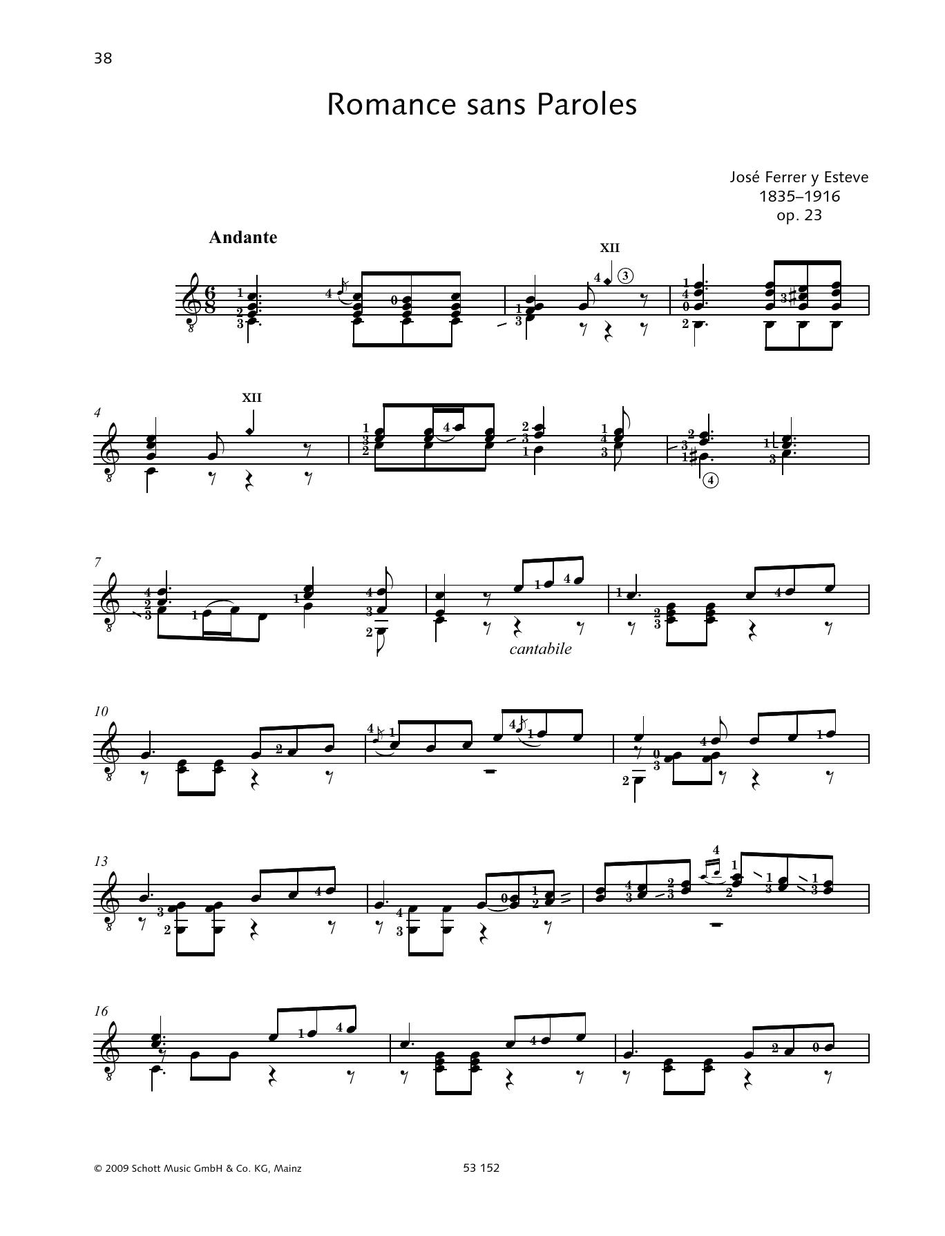 Romance sans Paroles Sheet Music