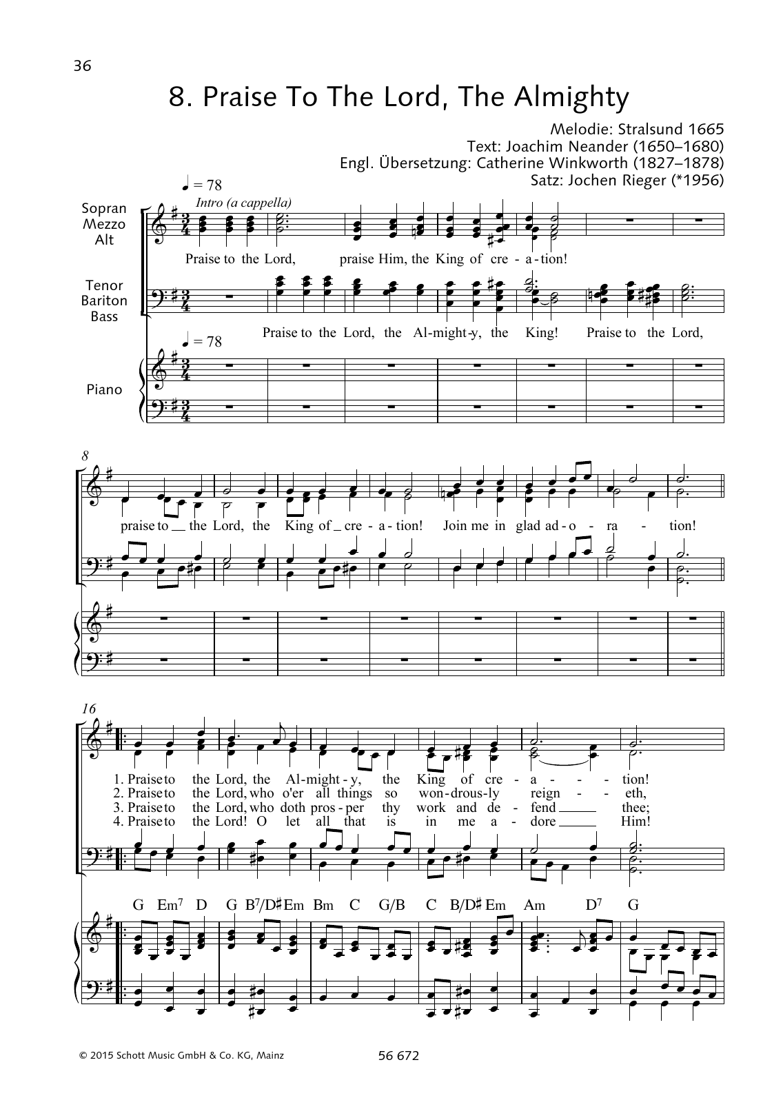 Praise to the Lord, The Almighty Sheet Music