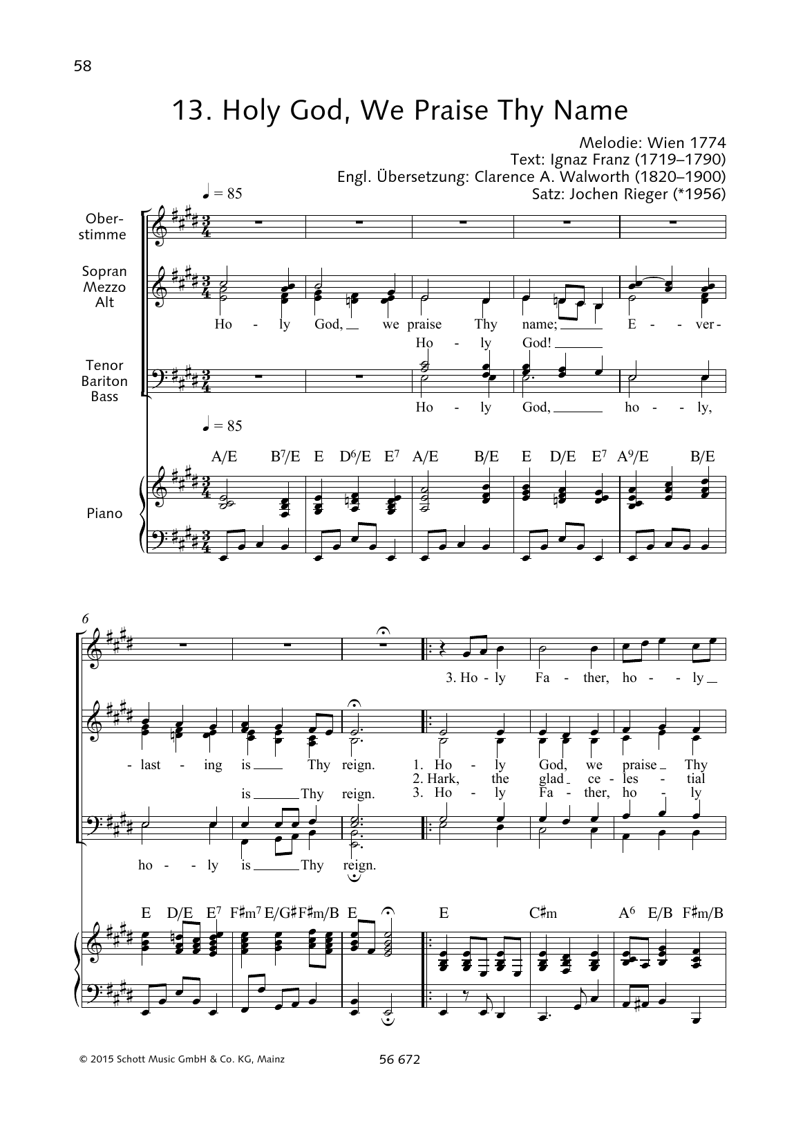 Holy God, We Praise Thy Name Sheet Music