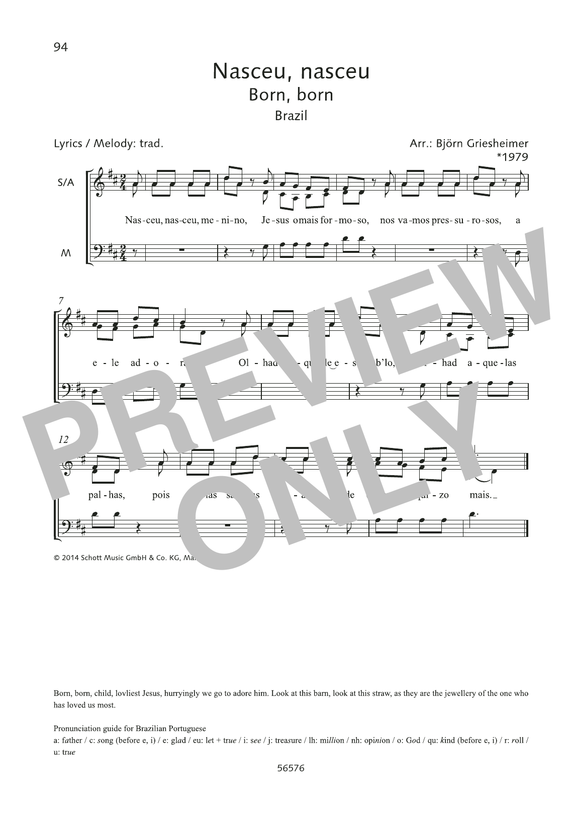 Nasceu, nasceu Sheet Music