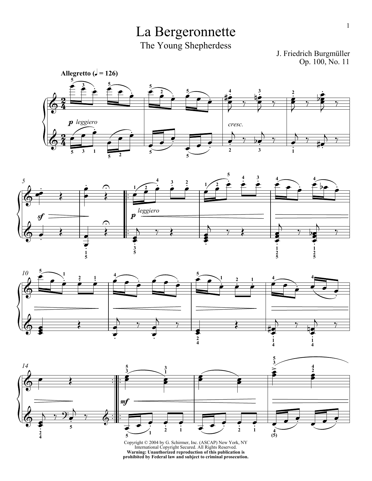 The Wagtail (La Bergeronnette), Op. 100, No. 11 (Piano Solo)