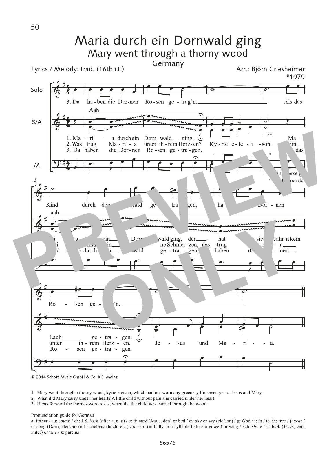 Maria durch ein Dornwald ging Sheet Music