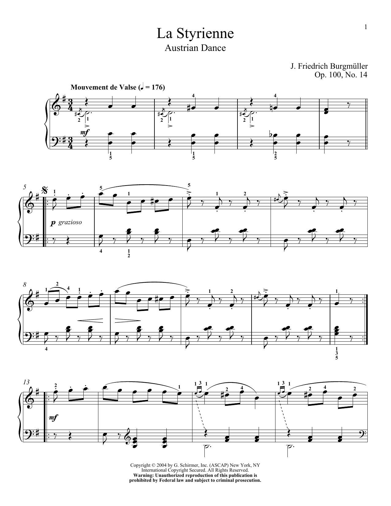 La Styrienne, Op. 100, No. 14 (Piano Solo)