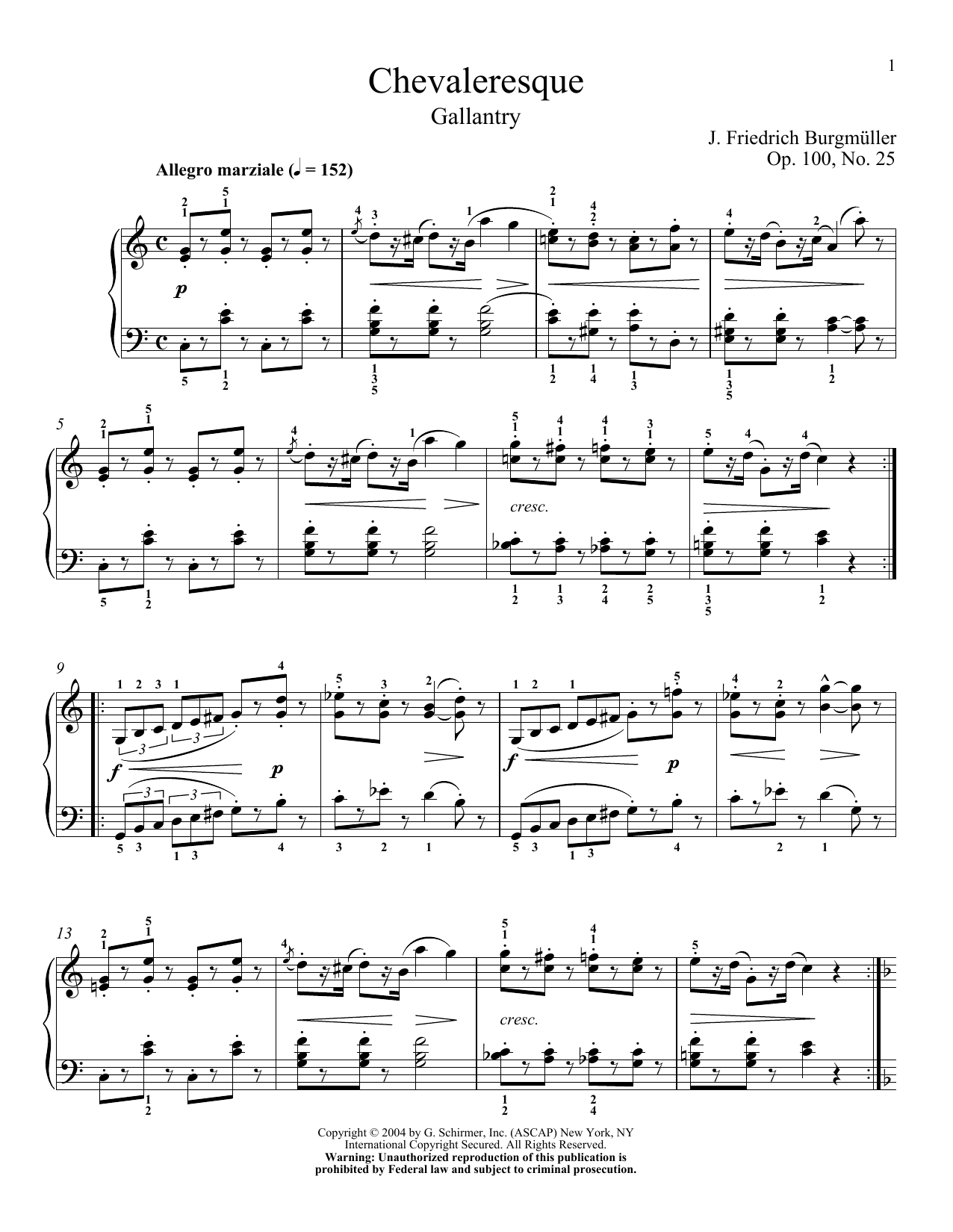 Spirit Of Chivalry (La Chevaleresque), Op. 100, No. 2 (Piano Solo)