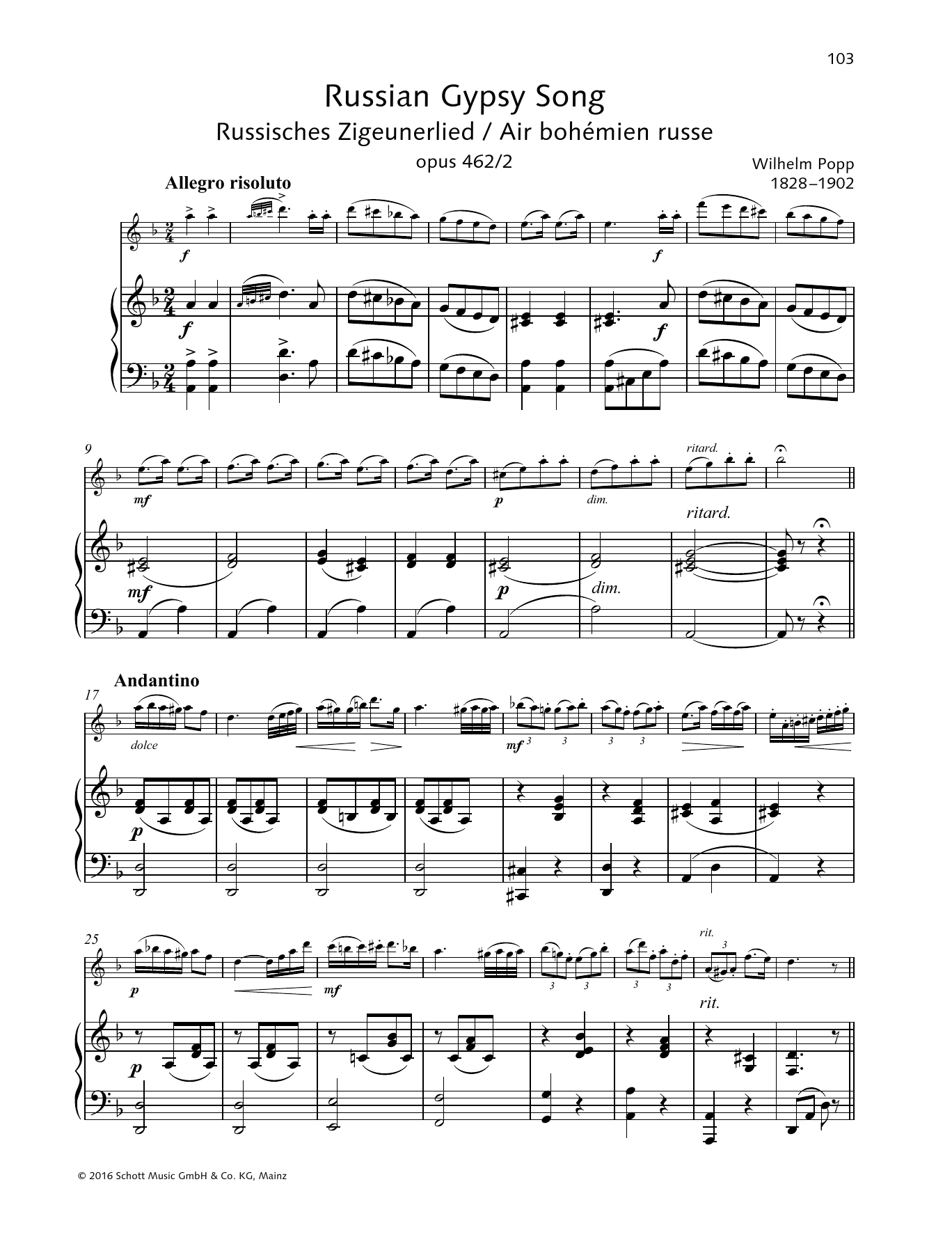 Russian Gypsy Song Sheet Music