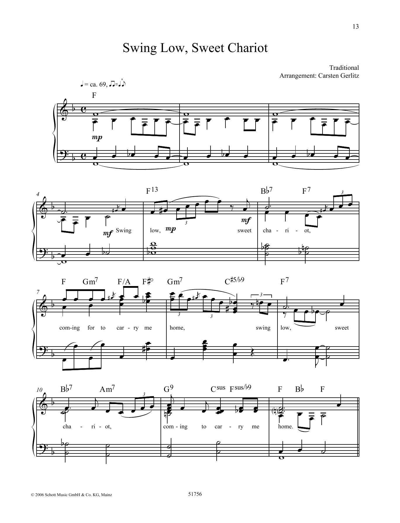 Swing Low Sweet Chariot Sheet Music By Traditional Piano Solo