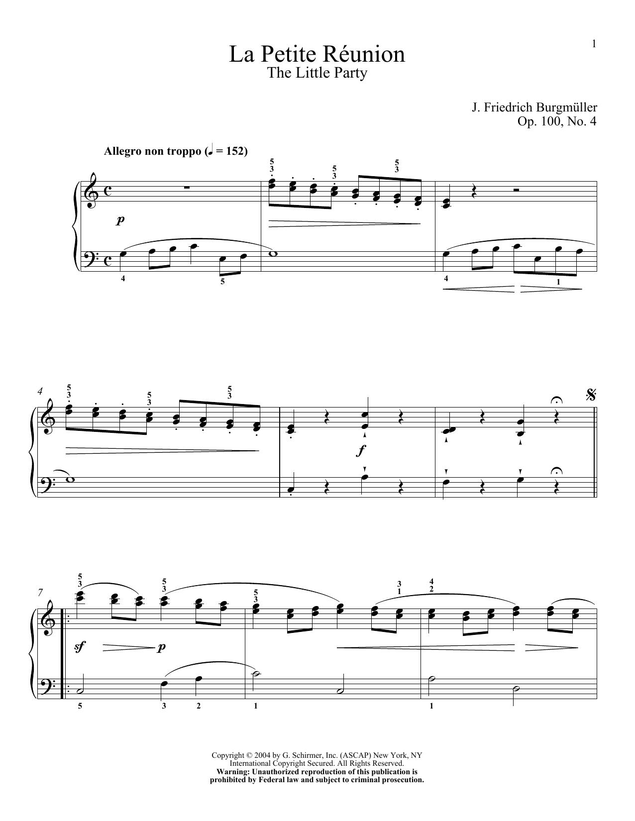 """The Little Party """"La Petite Reunion,"""" Op. 100, No. 4 Sheet Music"""